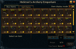 Hickton&#39;s Archery Emporium stock