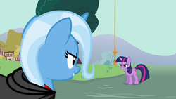 Trixie and Twilight Sparkle having a stare contest S3E5