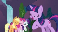Applejack, Pinkie Pie and Rarity singing with Twilight S3E2