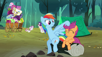 Rainbow Dash messing with Scootaloo&#39;s mane S3E6