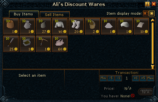 Ali's Discount Wares (General Store) stock