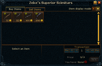 Zeke's Superior Scimitars stock