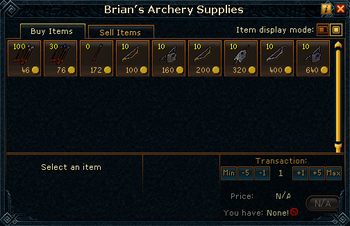 Brian's Archery Supplies stock