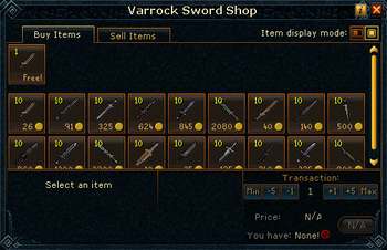 Varrock Sword Shop stock