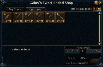 Gaius&#39;s Two-Handed Shop stock