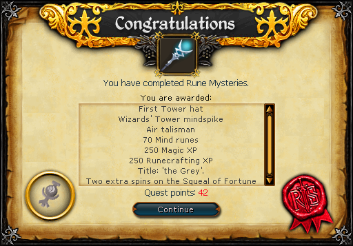 Rune Mysteries reward