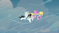 The two pegasi being hindered by the winds S3E07
