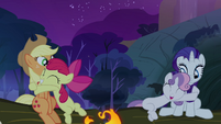 Apple Bloom and Sweetie Belle hugging their respective sisters S3E06