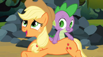 Applejack liking the scratching on her back S3E9