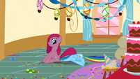 Pinkie Pie sitting on Rainbow Dash S01E25