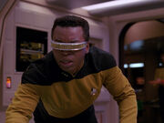 La Forge fights booby trap