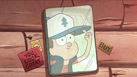 S1e1 dipper's reflection with hat