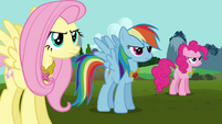Fluttershy, Rainbow, and Pinkie wearing Elements S03E10