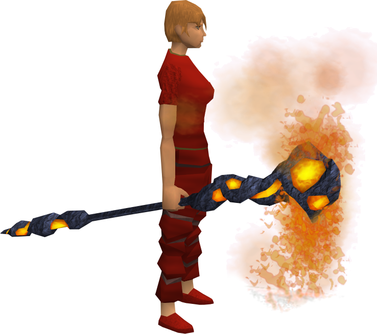 Lava battlestaff equipped