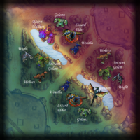 Summoner's Rift jungle map with monsters