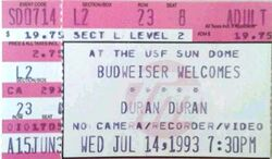 Duran Duran ticket Stub from 1993 For a show at the Sun Dome in Tampa Florida wikipedia