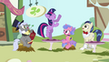 Ponies watching Twilight dance S3E13.png