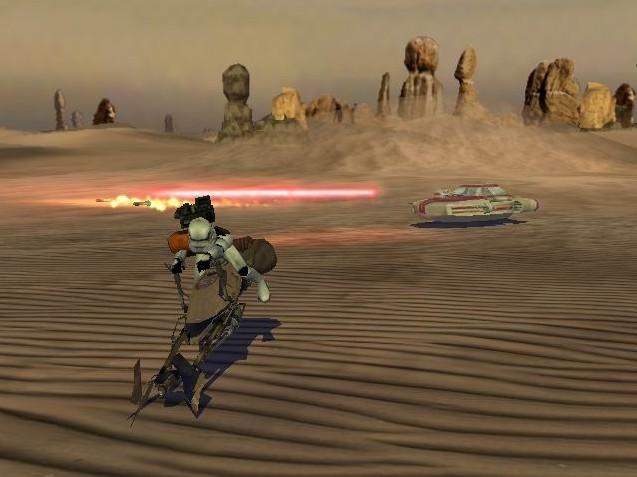 Rebel combat speeder pursues a 74 z speeder bike during the first