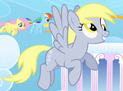 Derpy flying around in Cloudsdale S1E16