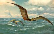 Pteranodon flying ocean