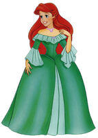 Ariel in a green gown