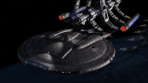 Enterprise (NX-01) leaving drydock