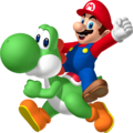 Mario riding Yoshi