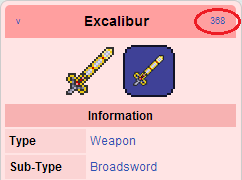 Excalibur item id
