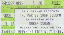 ANDY TAYLOR DURAN DURAN ticket Berkeley Community Theater, Berkeley CA (USA) wikipedia duran duran ticket stubs
