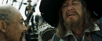 Barbossa arguing with Sao Feng