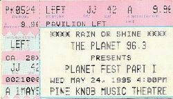 Pine Knob, Clarkston (Detroit), MI, USA planet fest part 1 ticket stub wikipedia