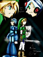 Link VS Megaman by DennaWilliamson