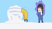 Ritsu kicked into the snow