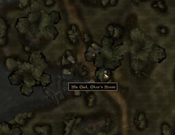 TES3 Morrowind - Hla Oad - Okur&#39;s House - location map