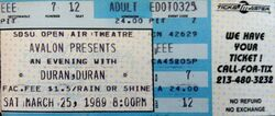 San Diego CA (USA), San Diego State University Open Air Amphitheater 25 march 1989 duran duran wikipedia ticket stubs