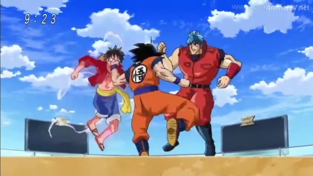 One Piece & Dragon Ball Z Chou Collaboration Special [MP4][JAP-SUB ESP][MH] 640px-Goku_vs_Luffy_y_Toriko