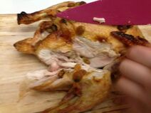 Carved honeyed chicken