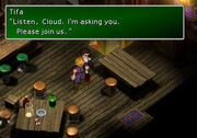 Tifa asking Cloud to join AVALANCHE