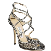Jimmy Choo Anthracite Crystal Embellished Mesh Sandal Sliver-200x200