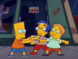 Bart and lisa cutting milhouses dick