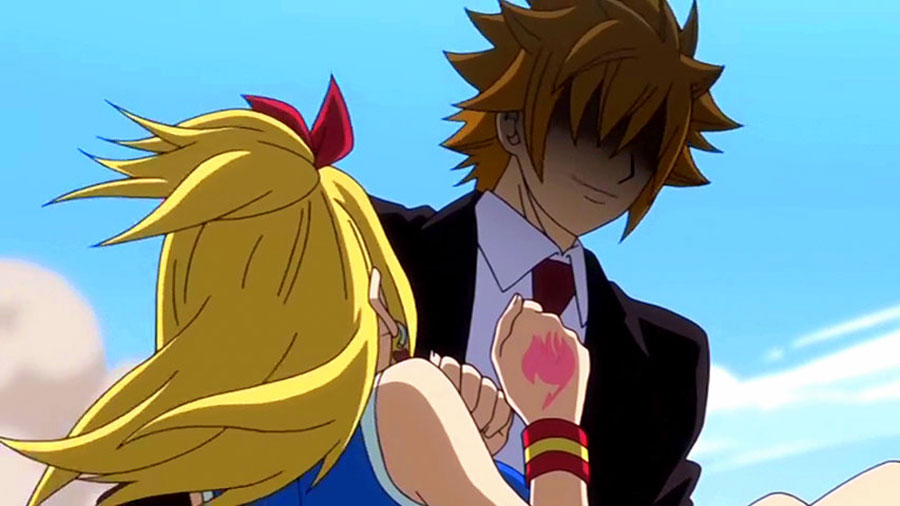 Lucy Heartfilia  Happy  amp  Loke vs  Bickslow - Fairy Tail Wiki  the site    Fairy Tail Lucy And Loke Kiss