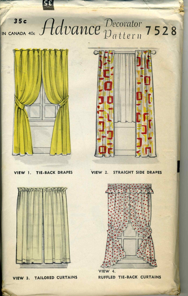 Advance 7528 vintage sewing patterns for 1940s window treatments
