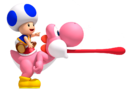 NSMBW Artwork Blauer Toad &amp; Yoshi.png