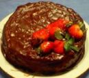 French Chocolate Almond Cake with Strawberries