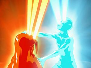Aang using Energybending on Ozai