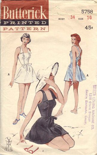 A Few Threads Loose: Sew Expensive... Butterick 5758 Bathing Suit ...