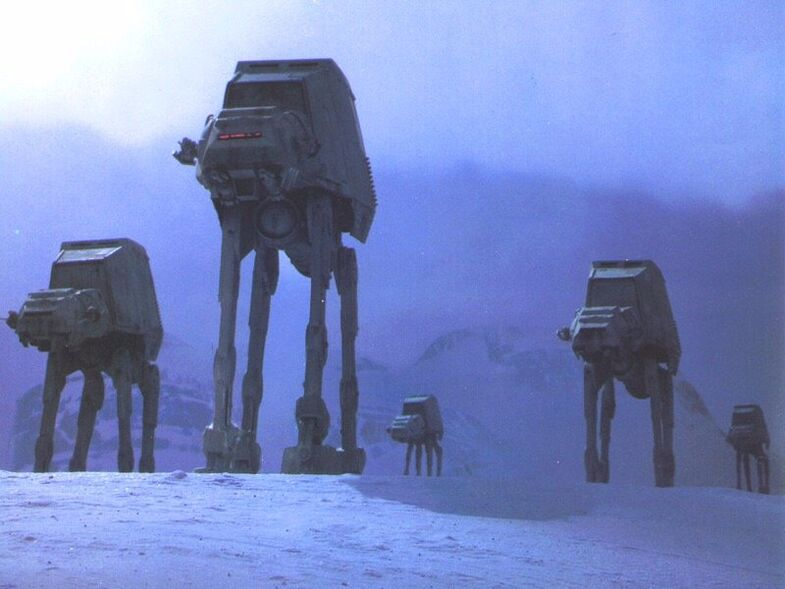 A group of AT-ATs approach Echo Base